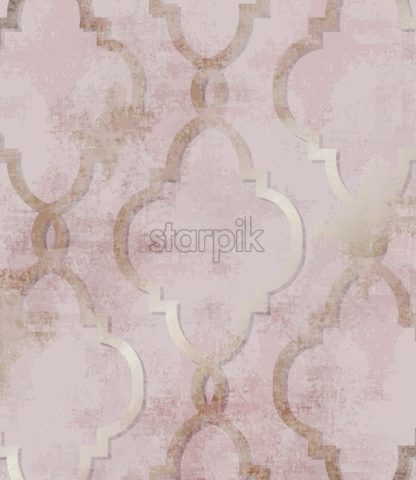 Arabic golden rose ornament pattern background Vector. Watercolor grunge glossy trendy decor - starpik