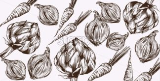 Artichoke and onions Vector line art. Veggies pattern fresh harvest - starpik