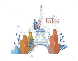 Autumn Eiffel Tower icon Vector. Paris fall season tower and leaves illustration - starpik