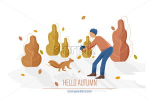 Autumn card with man feeding a squirrel Vector flat style illustration - starpik