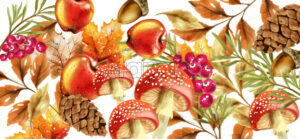 Autumn harvest pattern Vector. Fall muchrooms and fruits decor poster - starpik
