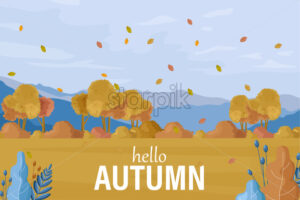 Autumn landscape Vector. Fall season background flat style - starpik