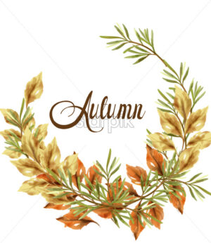 Autumn leaves wreath card. Vintage rustic poster. Fall boho decoration - starpik