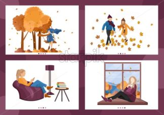 Autumn people lifestyle season Vector. Woman reading, children playing outdoors, people drinking coffee set collection illustration - starpik