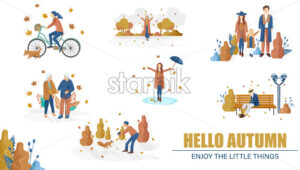 Autumn people set collection Vector flat style. Woman on bicycle, old couple and family walking illustration - starpik