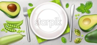 Avocado and greens poster Vector realistic. White plate healthy food template - starpik