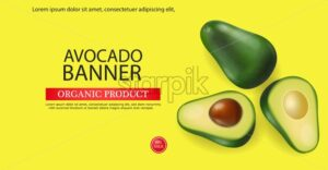 Avocado banner vector realistic. Menu page template layout. 3d illustration - starpik
