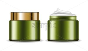 Avocado cream vector realistic. Product placement package. 3d illustration - starpik