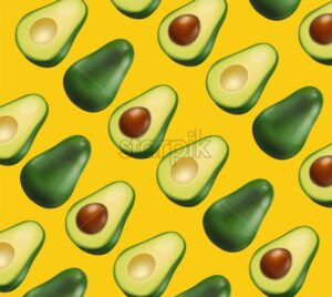Avocado pattern vector realistic. Yellow bright background. 3d illustration - starpik