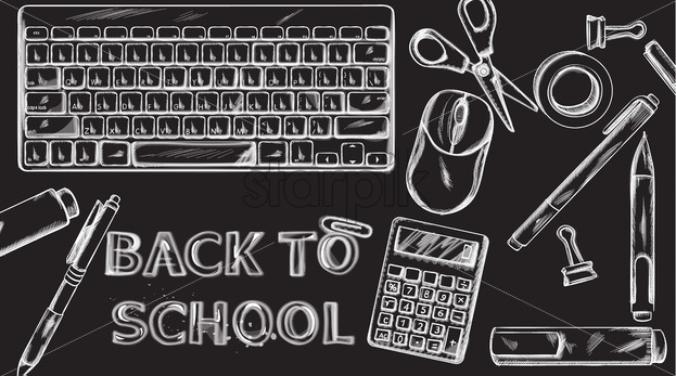 Back to school Vector banner. Sale school supplies promotion advertise poster. Chalk outline drawing texture - starpik