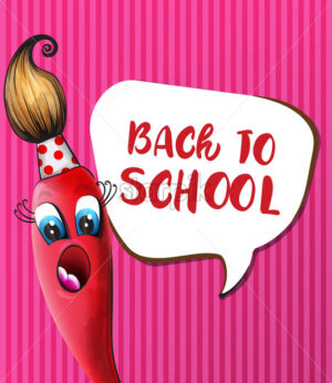 Back to school brush cartoon character Vector. Funny face smilling back to school concept - starpik