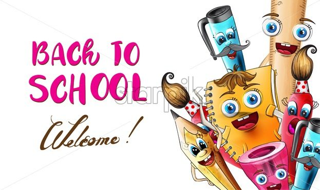 Back to school cartoon characters Vector watercolor. School supplies pen and ruler funny characters illustration watercolor style - starpik