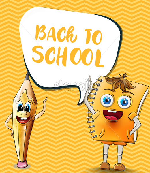Back to school comics cartoon characters Vector. Notebook and pencil funny characters illustration watercolor style - starpik