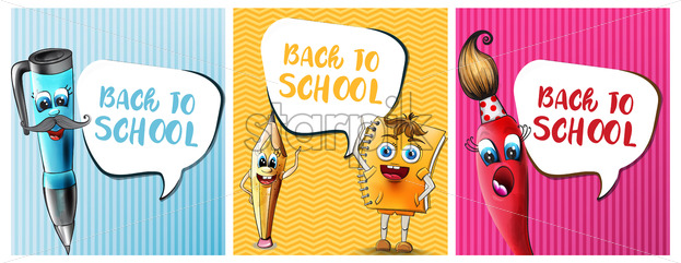 Back to school comics cartoon characters Vector. Notebook pen and ruler funny characters illustration watercolor style - starpik