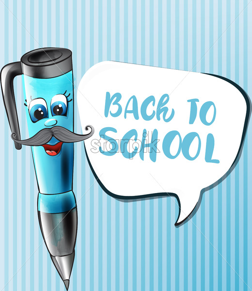 Back to school pen cartoon character Vector. Funny face smilling back to school concept - starpik