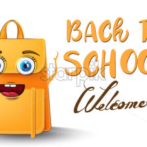 Backpack cartoon character back to school funny concept - starpik