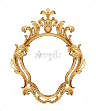 Baroque luxury golden frame Vector. Elegant mirror decor. Victorian ornaments rich framed trendy design - starpik