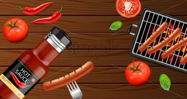 Bbq grill and sauce Vector realistic. Grill sausage menu brochure template. Hot sauce chily and tomato. 3d illustration food - starpik