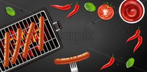 Bbq grill hot dog Vector realistic. Banner tasty menu brochure template hot sausages. 3d illustration food - starpik