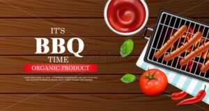 Bbq grill party Vector realistic. Vertical menu brochure template hot sausages. Hot sauce chily and tomato. 3d illustration food - starpik