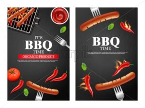 Bbq grill party banners set Vector realistic. Vertical menu brochure template hot sausage. Hot sauce chily and tomato. 3d illustration food - starpik