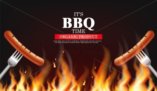 Bbq sausage fire Vector realistic. Vertical menu brochure template hot grill. Hot sauce chily and tomato. 3d illustration food - starpik