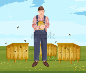 Beekeeper Vector illustration. Farmer eco products. Man holding a honey jar - starpik