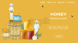 Beekeepers Vector honey banner. Honey theme poster template - starpik