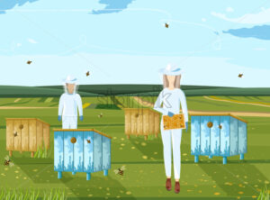 Beekeepers working vector. Organic product. Nature environment honey production - starpik