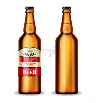 Beer bottle Vector realistic mock up. product placement. Label design. 3d illustration - starpik