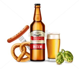 Beer bottle and fresh pretzel Vector realistic. Fresh drink product placement. Label design. 3d illustration - starpik