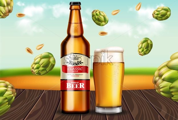 Beer bottle and mug Vector realistic mock up. Fresh drink product placement. Label design. 3d illustration - starpik