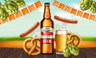 Beer bottle and pretzel Vector realistic. Fresh drink product placement. Label design. 3d illustration - starpik