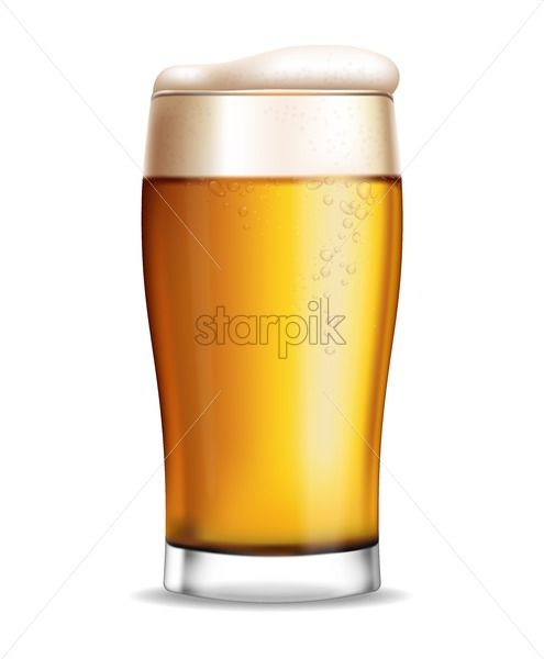 Beer glass isolated Vector realistic. Fresh sparkling drink. 3d detailed illustration template - starpik