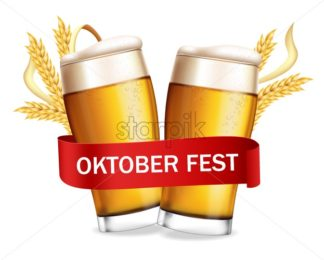 Beer glasses October fest poster Vector realistic. Fresh sparkling drink. 3d detailed illustration template - starpik