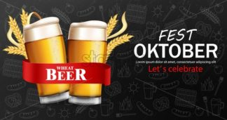 Beer glasses banner October fest Vector realistic. Fresh sparkling drink dark background. 3d detailed illustration template - starpik