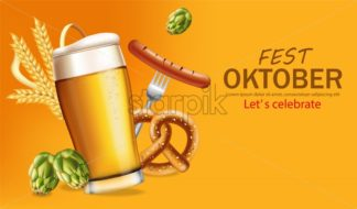 Beer mugs banner October fest Vector realistic. Fresh sparkling beer with pretzel. 3d detailed illustration template - starpik