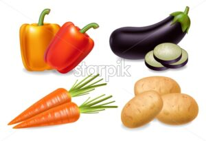 Carrot, pepper and aubergine set Vector realistic 3d detailed illustration - starpik