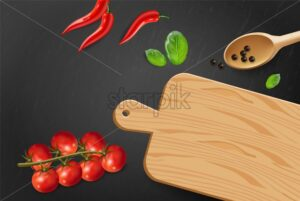 Cherry tomatoes and basil Vector realistic. Top view cooking ingredients. Detailed menu food - starpik