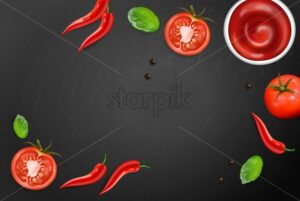 Chili and tomato Vector realistic. Hot sauce ingredients layout template. Menu brochure advertise poster - starpik