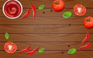 Chili and tomato on wood table Vector realistic. Hot sauce ingredients layout template. Menu brochure advertise poster - starpik