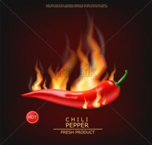 Chili on fire vector realistic. Hot pepper advert concept. Dark background. 3d illustration burning food poster template - starpik