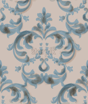 Classic baroque ornament Vector. Blue watercolor decor trendy texture old style - starpik