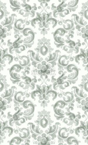 Classic elegant ornament pattern watercolor vector. Green delicate color texture - starpik