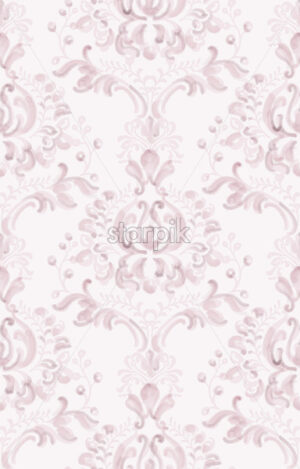 Classic elegant ornament pattern watercolor vector. Pink delicate color texture - starpik