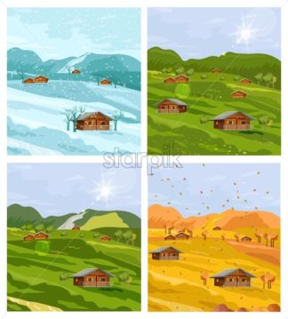Countryside different seasons Vector flat style. Autumn fall and winter backgrounds illustration - starpik