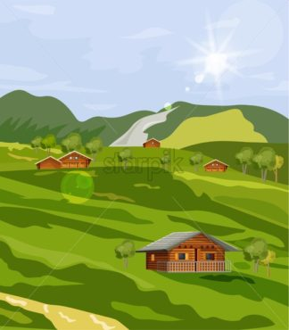 Countryside summer green fields Vector flat styles. Rustic provence house - starpik