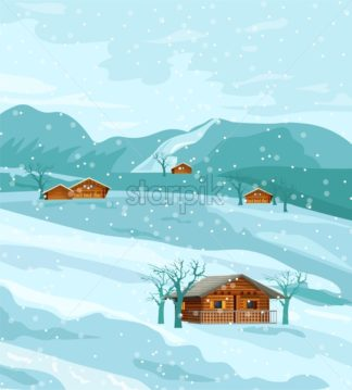 Countryside winter nature Vector flat styles rustic houses fields - starpik