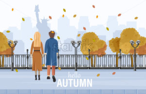 Couple walking in New York autumn Vector flat style. Admiring park view. Fall season lifestyle - starpik