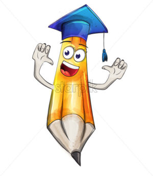 Crayon funny cartoon character Vector watercolor. Student graduation Back to school concept - starpik